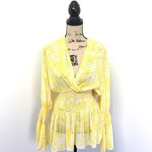 Ashley Stewart 14/16 Shirt Yellow Floral Bell